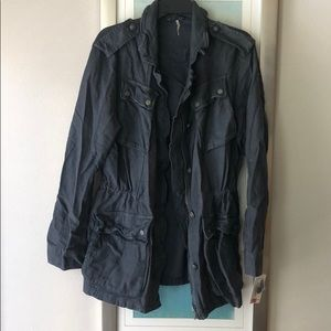 NWT Free People Military Jacket - Blue/Gray